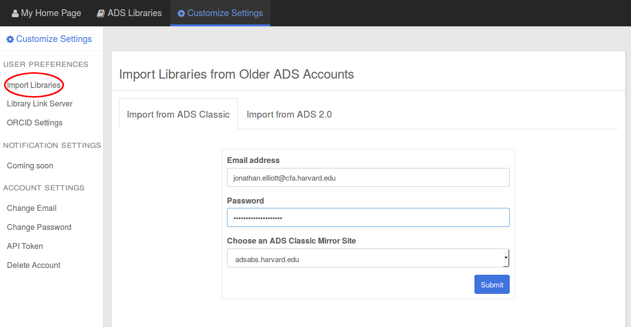 a screenshot of ADS Classic library import with the form filled in